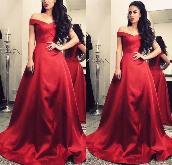 Simple Elegant Red Long Evening Dresses Off Shoulder Cap Sleeve Satin A Line Floor Length Evening Gowns Formal Women Special Occasion Dress