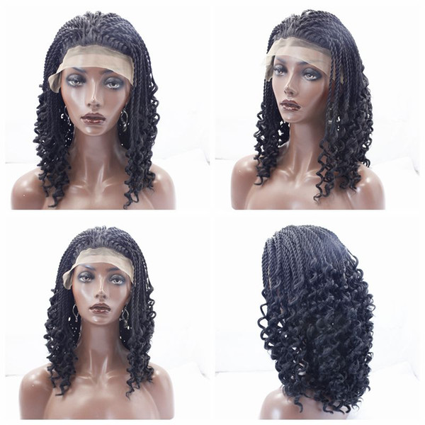 Hot Cheap Black Brown Curly Braids Wigs High Quality Braiding hair Heat Resistant Braided Glueless Synthetic Lace Front Wigs for Black Women