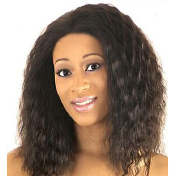 Fluffy hair products Medium length afro wig with bangs Color Brown Synthetic african american curly wigs for women 9018