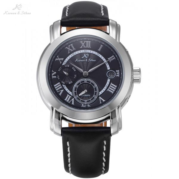 ClassicAutomatic Black Dial Date Day Relojes mecánicos Roman Mens Dress Business correa de cuero reloj reloj de pulsera / KS277