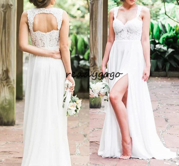 Beach Wedding Dress with Slit Sweetheart Empire Waist Keyhole Back Lace Chiffon Simple Bridal Gown Summer Outdoor Style