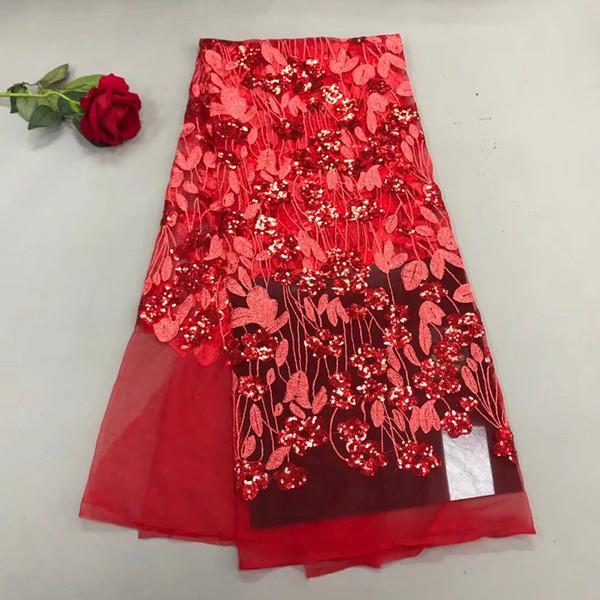 KY1015 vermelho 2018 (5 jardas / pc) de alta qualidade Africano net renda francesa farbic com lantejoulas pesadas bordados para o vestido de festa