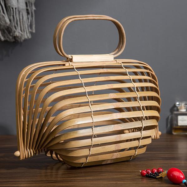 Bamboo Basket Bamboo Bag Women Large Straw Bag Summer Hollow Out Tote Luxury Designer Foldable Bag storage basket free shipping
