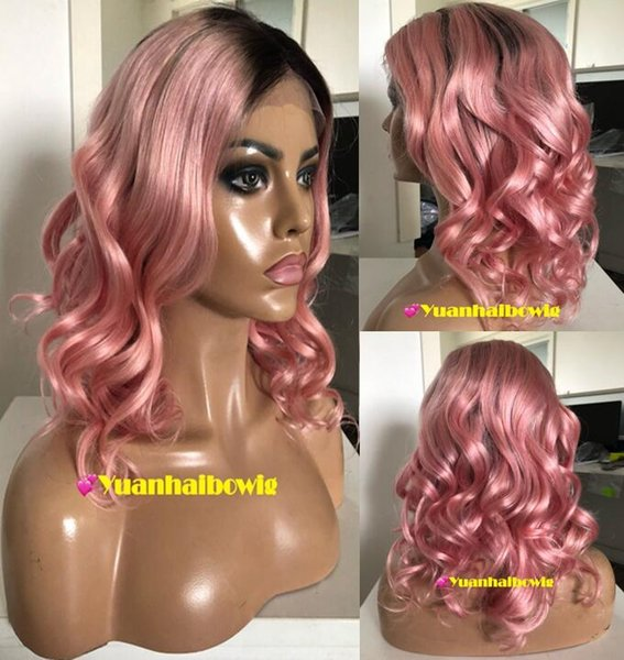 Ombre Pink Full Lace Wigs Fashion Celebrity Wigs Vigin Human Hair Ombre Light Pink Ombre Blonde Lace Front Wigs Loose Wave Free Shipping