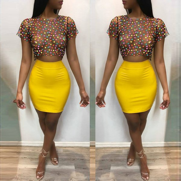 Multi Colors Polka Dot T Shirt and Short Skirt Two Pieces 2018 Hot See Through Crew Neck Short Sleeves Night Out Club Dress Party Gowns