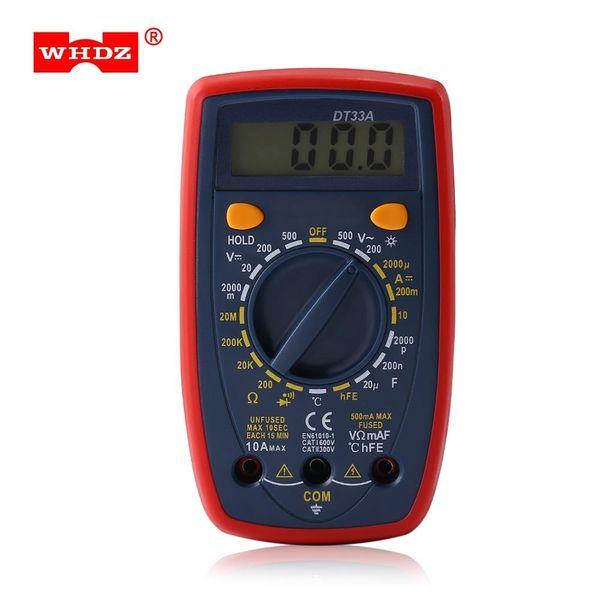 WHDZ Digital Multimeters Backlight Display Alarm Voltage Tester Pocket Voltage Ampere Meter DC AC Portable Electrical Tool Backlight LCD