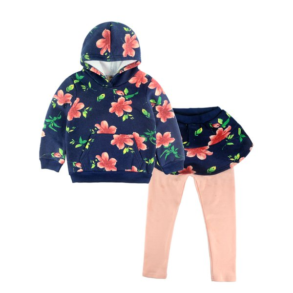 Floral Girls Clothing Sets Autumn Fashion Brand Girls Clothes Fleece Girl Hoodies and Leggings Kids Princess Set Children Suits
