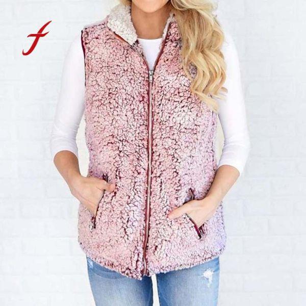FEITONG Casacos Para As Mulheres Da Moda Outono Inverno Manter Quente Outwear Casuais Faux Fur Zip Up Sherpa Casaco Casaco Feminino jaqueta