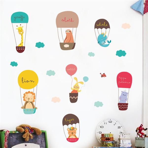 Cartoon Tiere Heißluftballon Wandtattoo Schlafzimmer Wohnkultur Giraffe Löwe Kaninchen Wandaufkleber PVC Wandbild Kunst DIY Poster