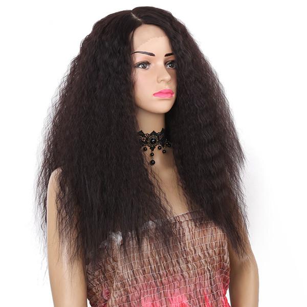 Pelucas delanteras sintéticas del frente del cordón del pelo natural de la parte lateral resistente al calor de la peluca recta 24inch larga para las mujeres negras