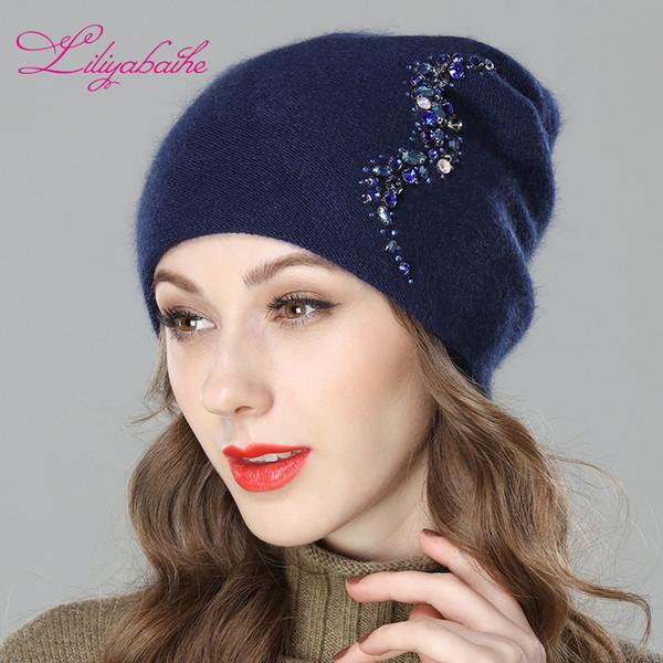Compre Liliyabaihe Mujeres Otoño E Invierno Sombrero Angora De Punto ...