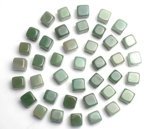 1000 g Granel Natural Tumbled Verde Aventurine Esculpido Cube Cristal Reiki Cura Semi-preciosas Pedras Polidas para Decoração Feng Shui