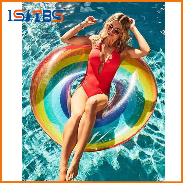 60/70/80/90/120cm Giant Rainbow Watermelon Swimming Ring For Adult Children 2018 Summer Inflatable Pool Float Water Toys Piscina