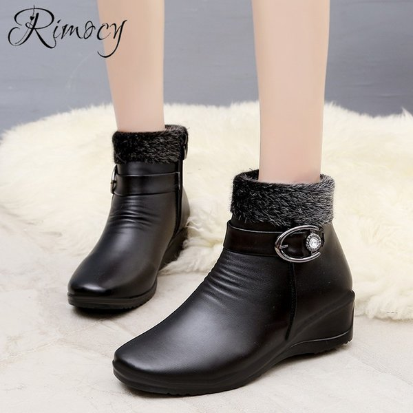 wholesale Female Luxury Faux Fur Ankle Boots 2018 Winter New Fashion Women Snow Boots Ladies Med Heel Shoes Woman Solid Black Botas