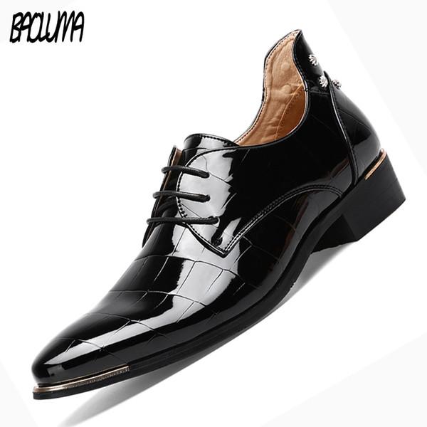 BAOLUMA Männer Formale Kleid Schuhe Italien Neue Ankunft Hochzeit Oxfords Runde Kappe Herren Party Wohnungen Herren Schuhe Große Größen