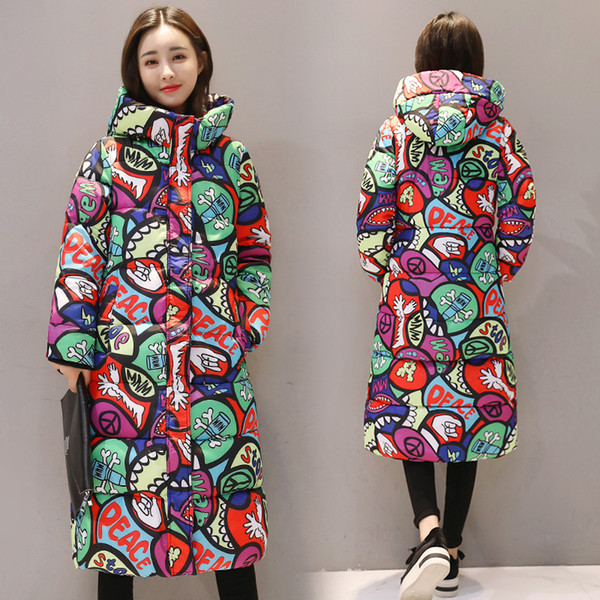 long cotton-padded clothes new style Autumn Winter Coat Design Padded Down Cotton Plus Size Slim Jacket Hooded Women Fashion