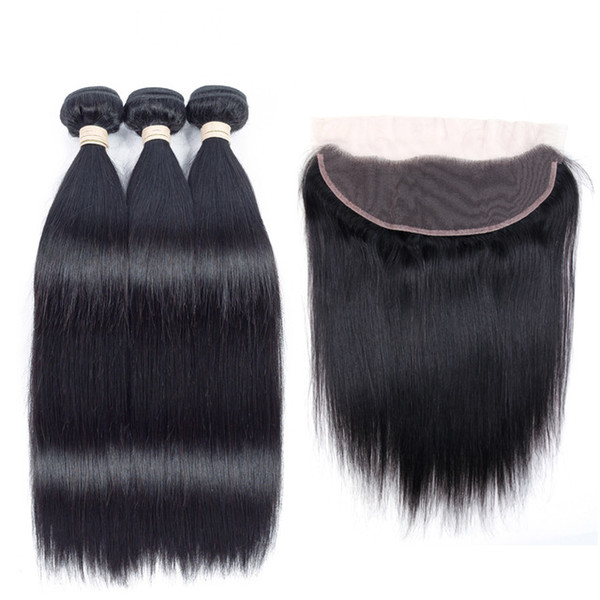 Lace Frontal with Bundles Straight Virgin Hair Body Wave Bundles with Closure Brazilian Peruvian India Malaysian Virgin Human Hair Extension