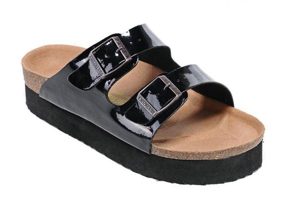Nouveau Célèbre Marque Arizona Hommes Sandales Plates Pas Cher Femmes Casual Chaussures Mâle Double Boucle D'été Plage Top Qualité Véritable Pantoufles En Cuir