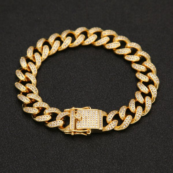 Top Quality Full Bling Iced Out Mens Miami Curb Cuban Link Bracelets Copper Lab CZ Stone Clasp Chain Bangles