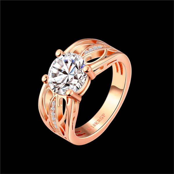 New Design 18K rose gold plated swiss CZ diamond wedding / engagement ring fashion jewelry for sexy woman