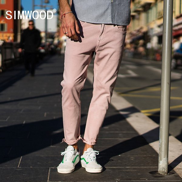 8b937fb34a867 SIMWOOD 2018 Spring Summer New Jeans Men Casual Slim Fit Ankle-Length Denim  Pants Unfinished