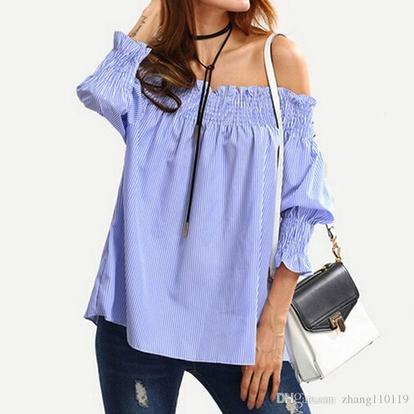2018 Women Girls Fashion Blue White Striped Blusas Off the Shoulder Puff Sleeve Shirts Loose Elastic Ruffle Spring Summer Blouse