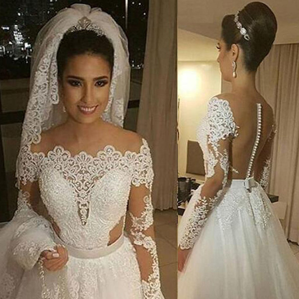 Discount Vintage Off The Shoulder Illusion Lace Wedding Dress With