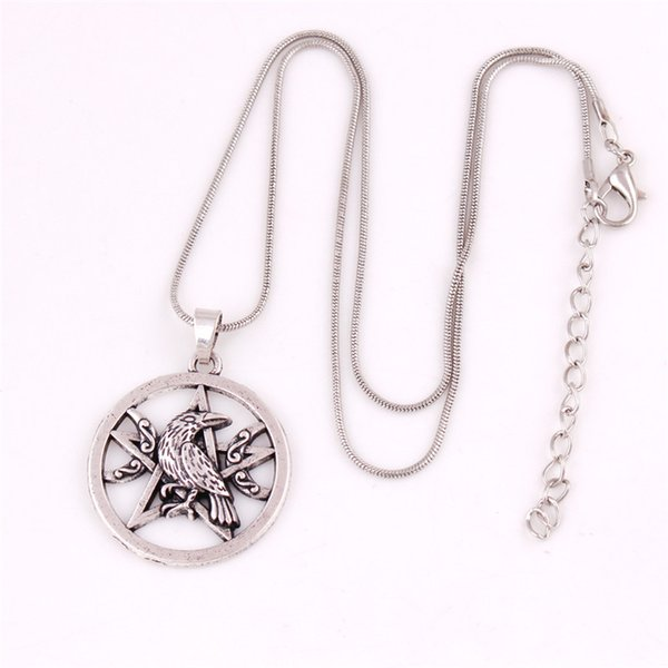 New Design Viking Necklace For Unisex Crow And Pentacle Pattern Two Kinds Chains Present For BFF Zinc Alloy Provide Dropshipping