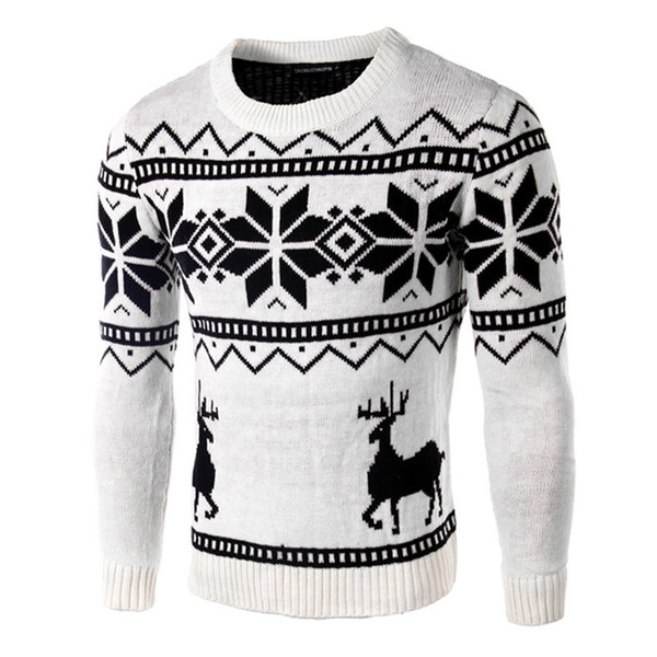 Sweaters Male Men O-Neck Long Sleeve Cotton Fashion Christmas thin printed Sweater with Deer Pattern Brand Slim Pullovers D1892902