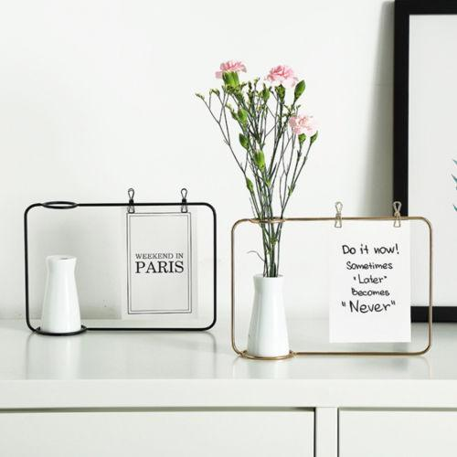 Black Gold Flower vase Shape Photo Holder Stands Table Number Holders Place Card Paper Menu Clips For Home Decoration