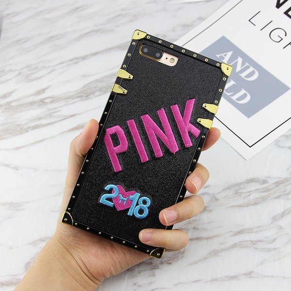 Bordado de lujo 3D 2018 Pink Letter Case para iphone 7 7 Plus Glitter Metal cajas del teléfono cuadrado para iPhone X 8 6 s más cubierta
