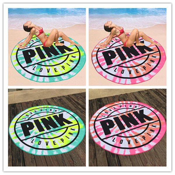 ivone2 / 160cm Pink Round Beach Towel Microfiber Absorbent Quick Drying Towels Swimming Bath Sports Towels Picnic Blanket Outdoor Ma B1007
