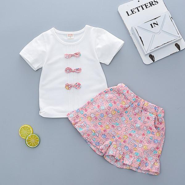 Ropa de verano para niñas Conjunto de algodón para niñas Ropa de deporte  para niños Traje de flores 2 piezas Conjuntos de ropa para niños de bebé  Primeros ... adf6faa8a5980