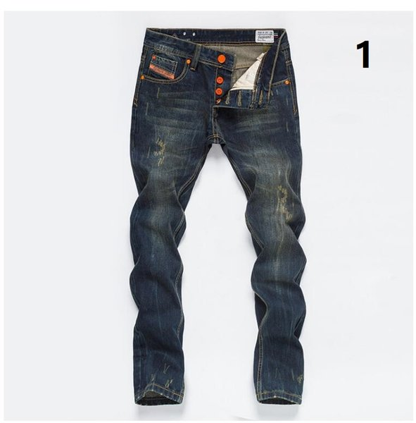 Free Shipping New brands jeans Mens repair straight retro Do old Little feet men Long pants retro Jeans size 28-40