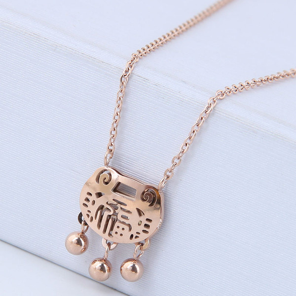 High-grade Jewelry Accessories Titanium Steel Bells Lucky Longevity Lock Pendants Real Rose Gold Choker Sweater Necklaces For Women No Fade