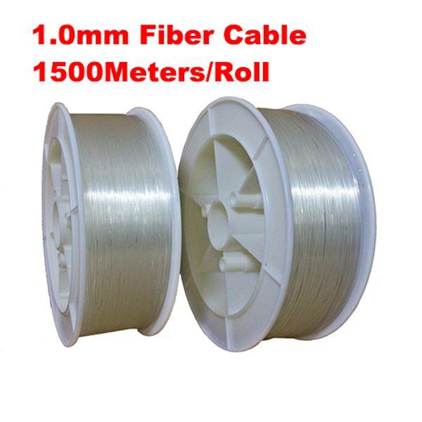 1.0mm diameter PMMA LED Optic Fiber Lights 1500m/roll 1mm PMMA fiber optic cable end glow for decoration lighting led fiber lights
