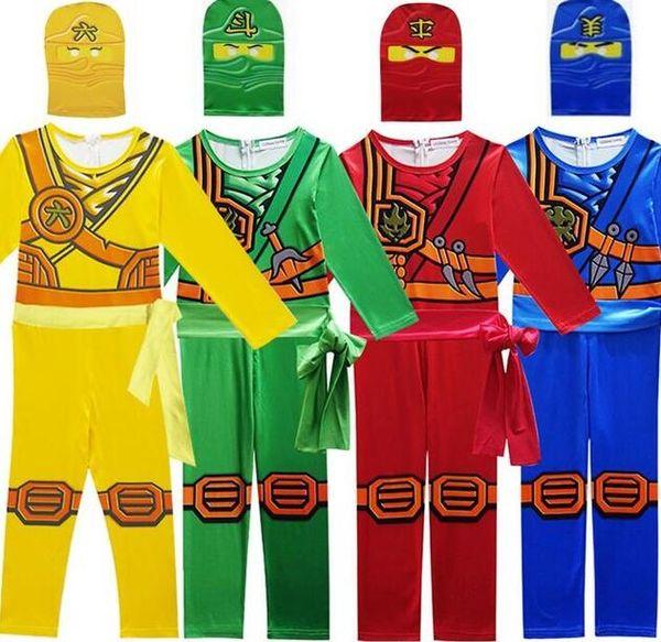 Ninjago Cosplay Kostüm Erkek Giysileri Setleri Çocuk Cadılar Bayramı Fantezi Parti Giydir Ninja Cosplay Süper Kahraman Erkek Tulumla ...