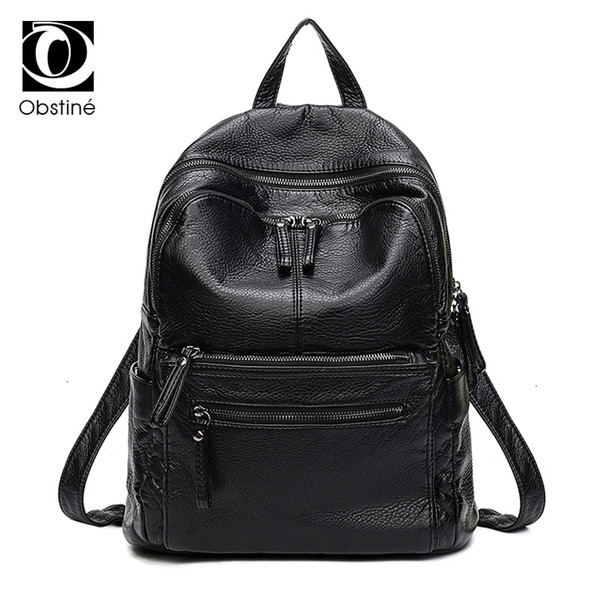 Leather Dogs White And Black Backpack Daypack Bag Women