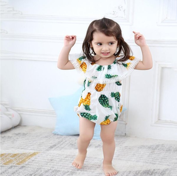 2018 new designs baby girls summer pineapple rompers infant baby girl jumpsuits cute clothing for wholesale free shipping