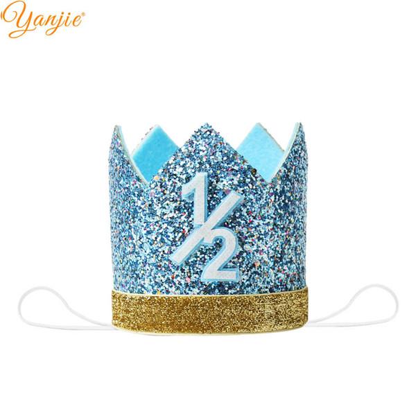 4 '' Prenses Taç Chunky Glitter Boy / Girl 1 1 / 2th Doğum Taç Partisi Kafa İçin Kızlar Şapka Saç Aksesuarları 2018 Şapkalar