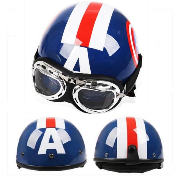 casco de motocicleta eléctrica de la bicicleta casco de estilo retro medio casco ABS verano 2019 de la nueva historieta cuatro estaciones