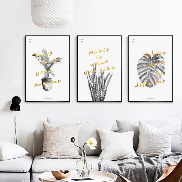 Acheter Gris Aquarelle Plante Dorée Phrase Anglaise Toile Peinture Affiche Et Imprimer Mur Art Photo Salon Décoration Murale De 33 85 Du