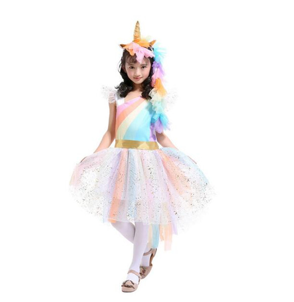 Girls Dress Unicorn Rainbow Dress Unicorn Headband + Angel Wings +Lace Tutu Girls Princess Dress 3 Pieces Suits Cosplay Clothing Sets