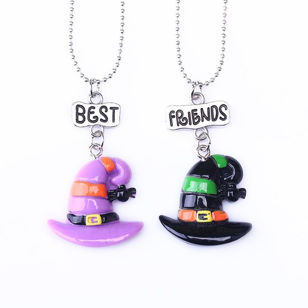 """2PCS/Pair Kids """"Best Friends"""" Halloween Hat Necklaces Kids Imitation Colorful Hat Necklace For Children Jewelry Gift"""