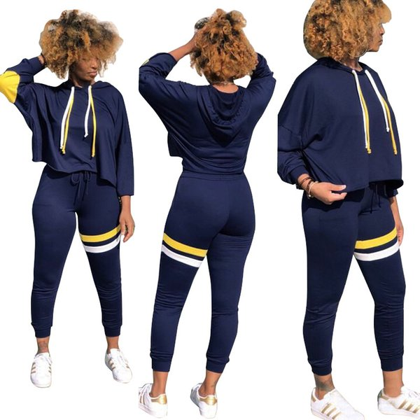 2018 Fashion Women Hooded Tracksuits 2Pc Dark Blue Long Sleeve Loose Hoodie Slim Pant Two Piece Pants Casual Street Sports Track Suit