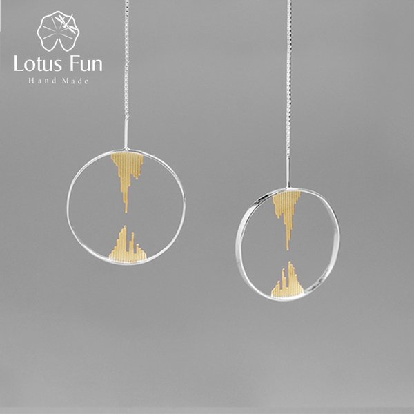 Lotus Fun Real 925 Sterling Silver Handmade Creative Designer Fine Jewelry Zen Buddhism Dangle Earrings for Women S18101207