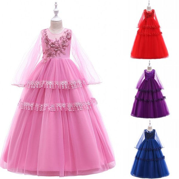 Long Sleeve Flower Girl Dress Layered Lace Teens Formal Birthday Long Party Gown Kids Children Clothes