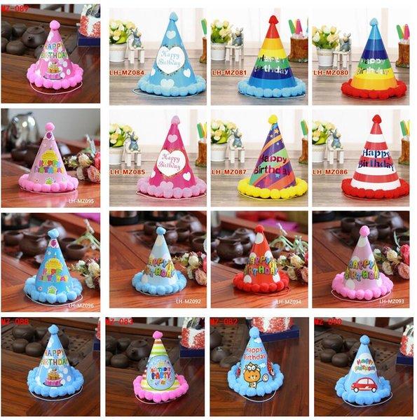 Kindergeburtstagsfeier-Hut-Regenbogen-bunte Baby-Jungen-Mädchen-Geburtstagskappen scherzt alles Gute zum Geburtstagpapierkappe 16colors AAA1263