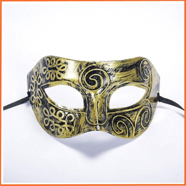 Halloween Costume Party Maks Venetian Mardi Gras Masquerade Sliver Golden Half Faces Mask For Men Roman Gladiator Mask