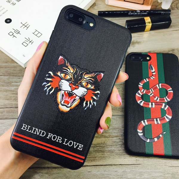 Luxury 3D Embroidered Cat Head Soft Back Cover Case Animal Snake Stripe Phone Shell Tide Brand for iPhone XS Max XR 6s 7
